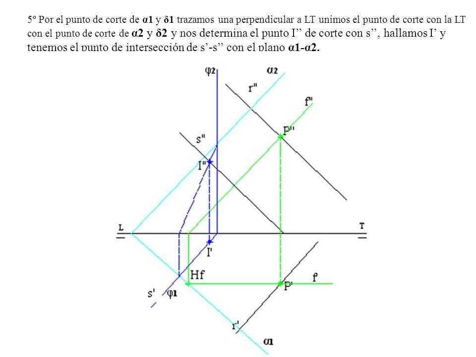 5º Por el punto de corte de α1 y δ1 trazamos una perpendicular a LT unimos el punto de corte con la LT con el punto de corte de α2 y δ2 y nos determina el punto I'' de corte con s'', hallamos I' y tenemos el punto de intersección de s'-s'' con el plano α1-α2.