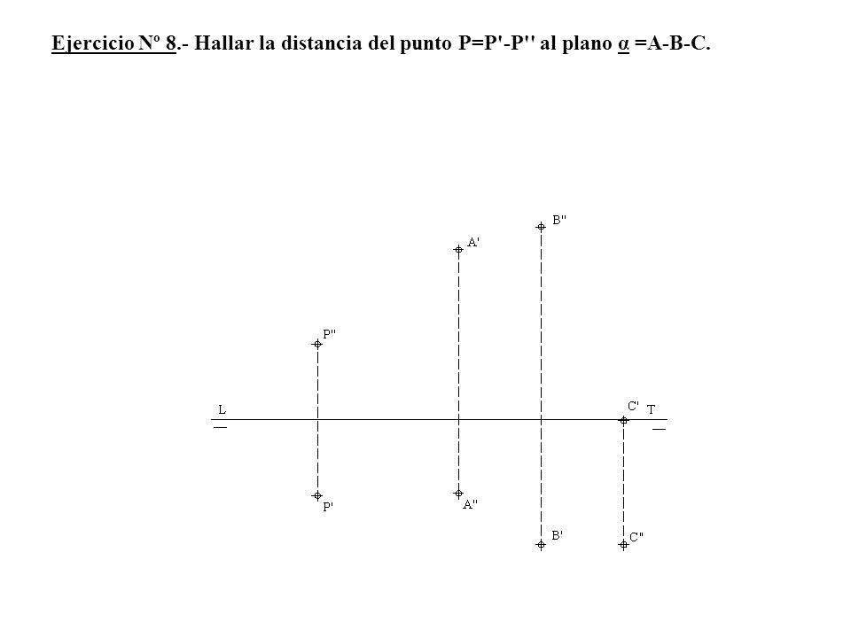 Ejercicio Nº 8.- Hallar la distancia del punto P=P -P al plano α =A-B-C.