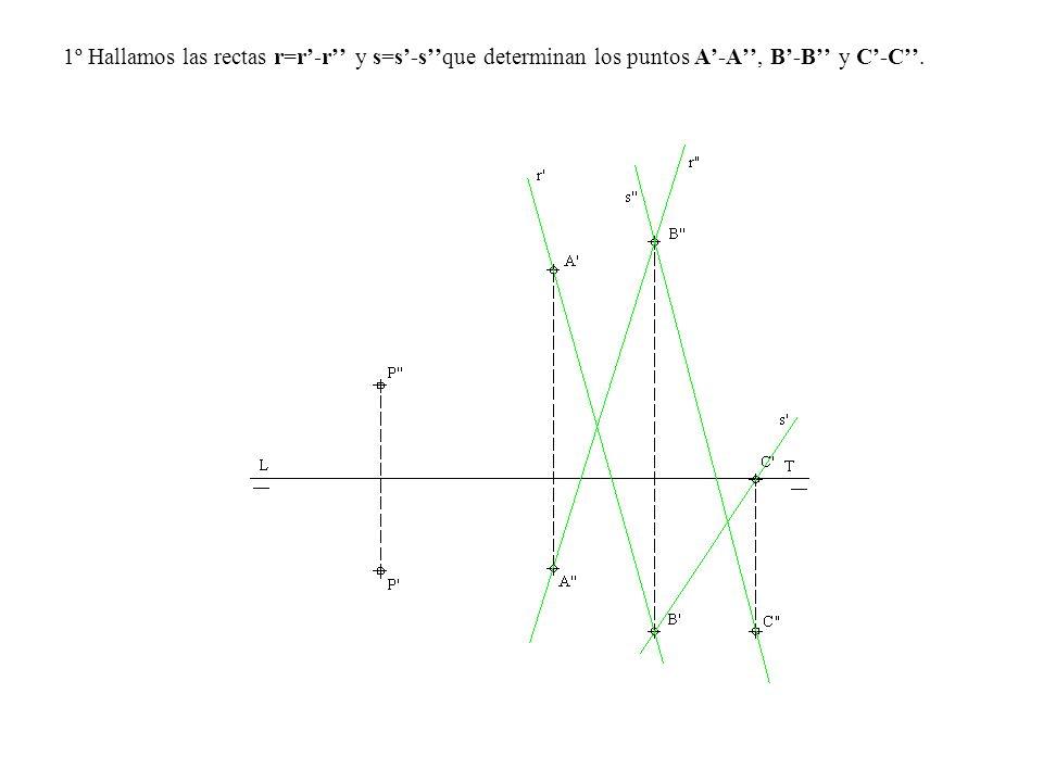 1º Hallamos las rectas r=r'-r'' y s=s'-s''que determinan los puntos A'-A'', B'-B'' y C'-C''.