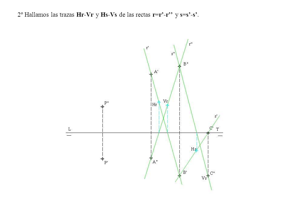 2º Hallamos las trazas Hr-Vr y Hs-Vs de las rectas r=r'-r'' y s=s'-s'.