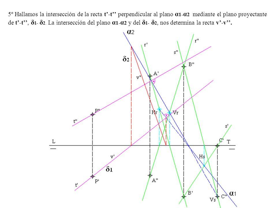 5º Hallamos la intersección de la recta t'-t'' perpendicular al plano α1-α2 mediante el plano proyectante de t'-t'', δ1- δ2.