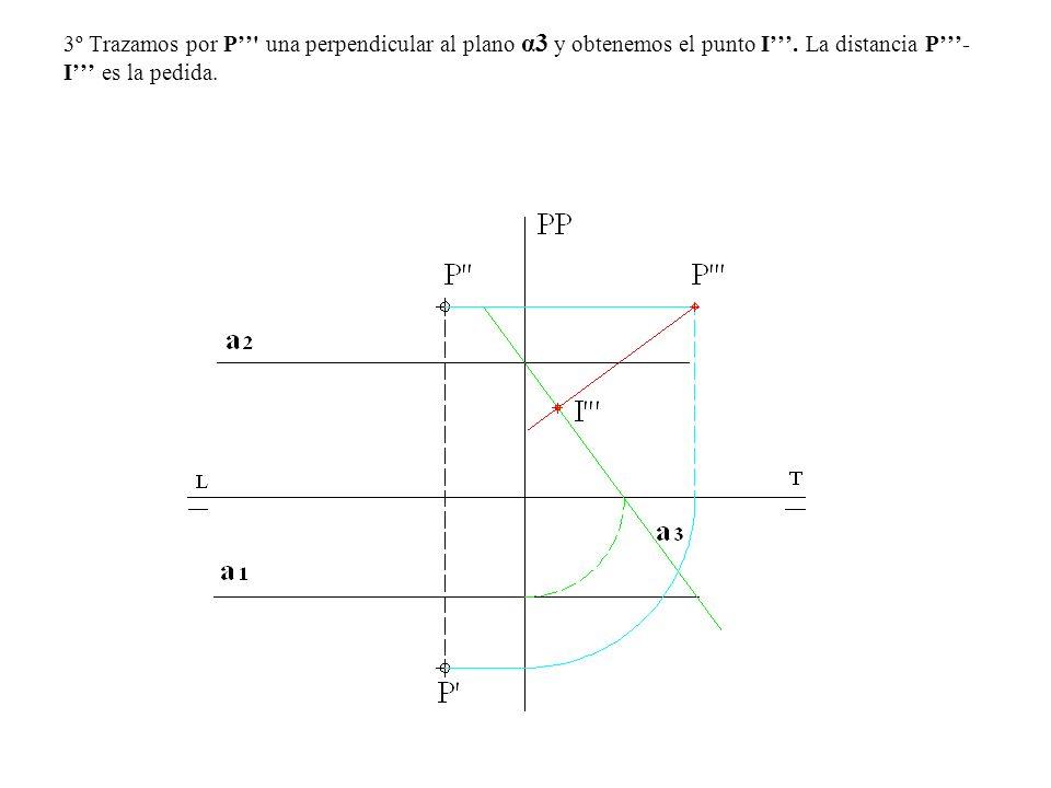 3º Trazamos por P'' una perpendicular al plano α3 y obtenemos el punto I'''.