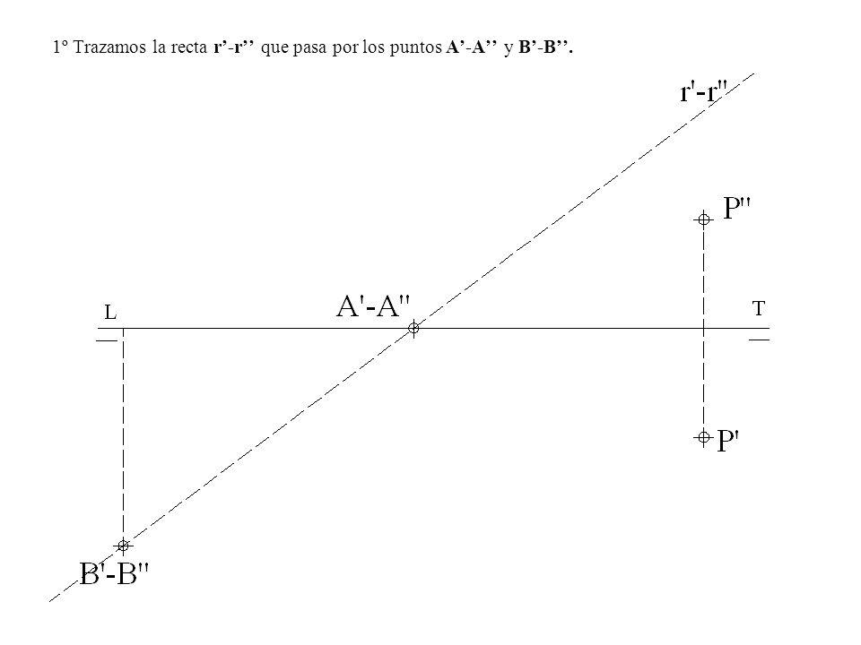 1º Trazamos la recta r'-r'' que pasa por los puntos A'-A'' y B'-B''.
