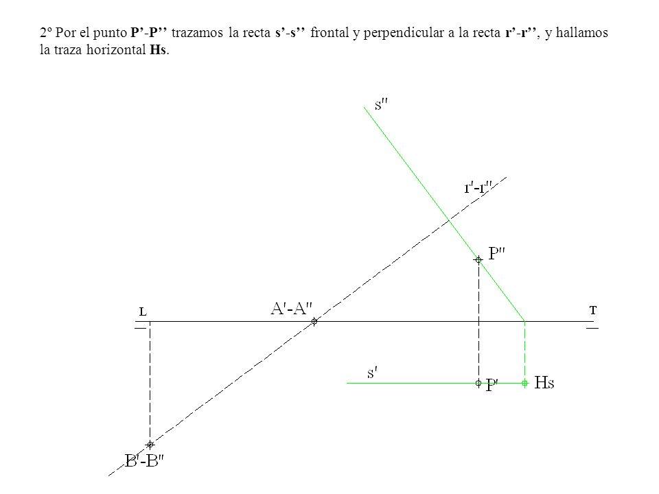 2º Por el punto P'-P'' trazamos la recta s'-s'' frontal y perpendicular a la recta r'-r'', y hallamos la traza horizontal Hs.