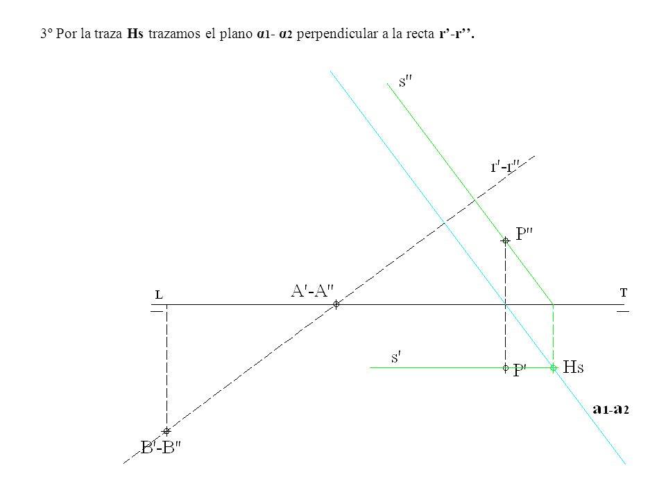 3º Por la traza Hs trazamos el plano α1- α2 perpendicular a la recta r'-r''.