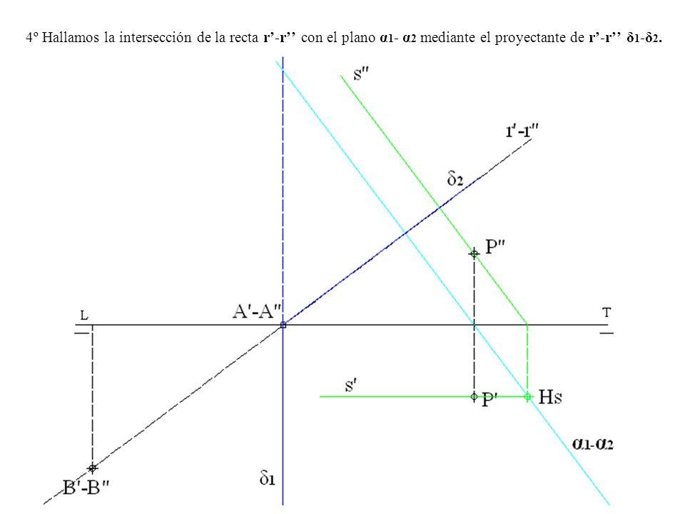 4º Hallamos la intersección de la recta r'-r'' con el plano α1- α2 mediante el proyectante de r'-r'' δ1-δ2.