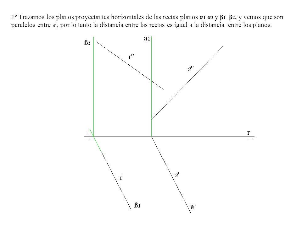 1º Trazamos los planos proyectantes horizontales de las rectas planos α1-α2 y β1- β2, y vemos que son paralelos entre si, por lo tanto la distancia entre las rectas es igual a la distancia entre los planos.