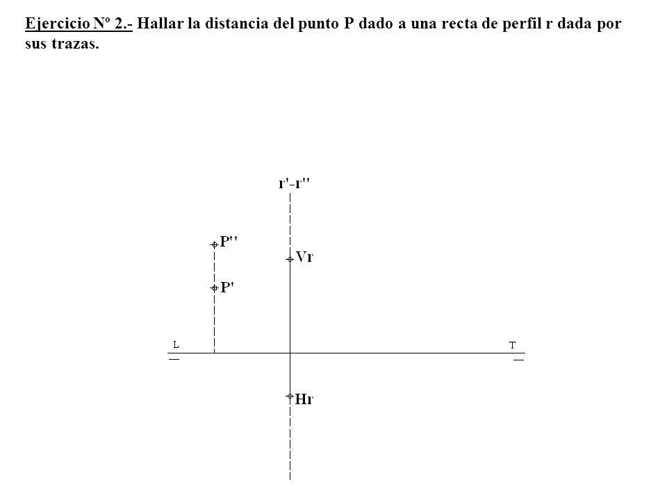 Ejercicio Nº 2.- Hallar la distancia del punto P dado a una recta de perfil r dada por sus trazas.