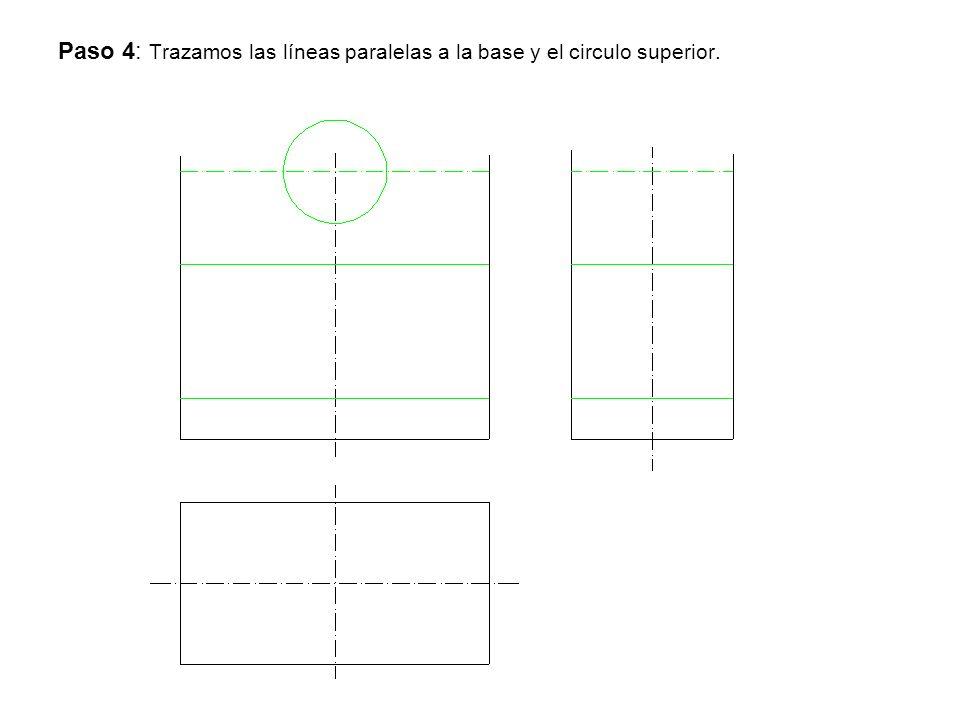 Paso 4: Trazamos las líneas paralelas a la base y el circulo superior.