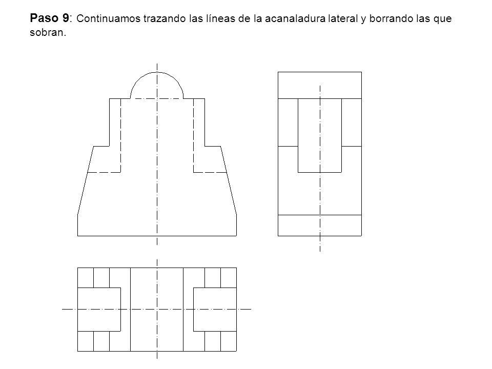 Paso 9: Continuamos trazando las líneas de la acanaladura lateral y borrando las que sobran.