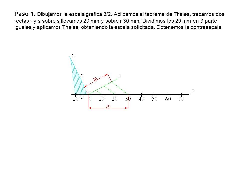 Paso 1: Dibujamos la escala grafica 3/2
