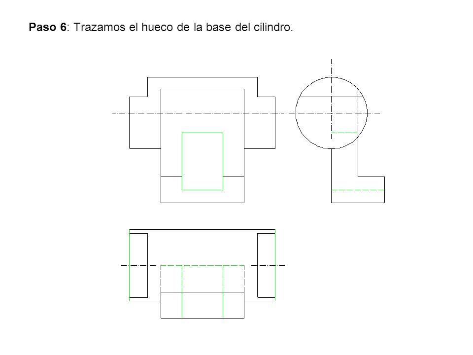 Paso 6: Trazamos el hueco de la base del cilindro.