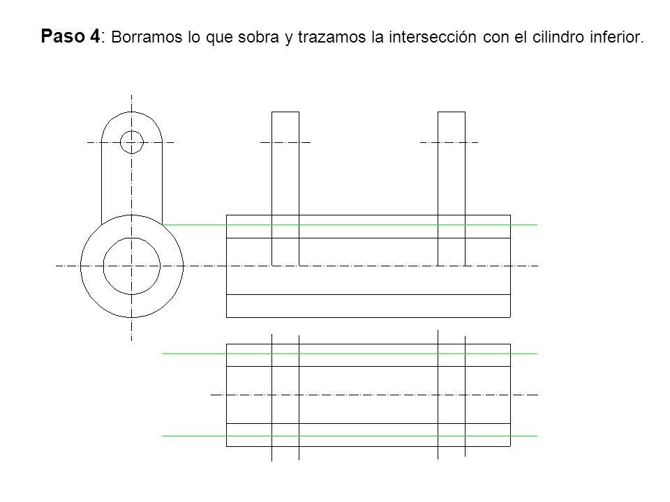 Paso 4: Borramos lo que sobra y trazamos la intersección con el cilindro inferior.