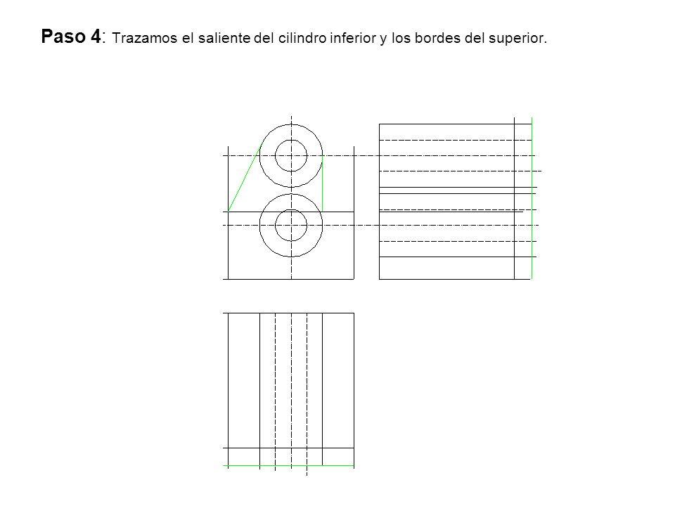 Paso 4: Trazamos el saliente del cilindro inferior y los bordes del superior.