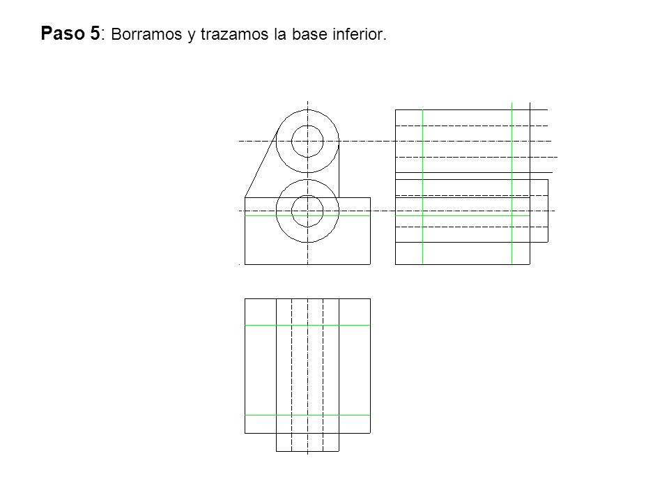 Paso 5: Borramos y trazamos la base inferior.