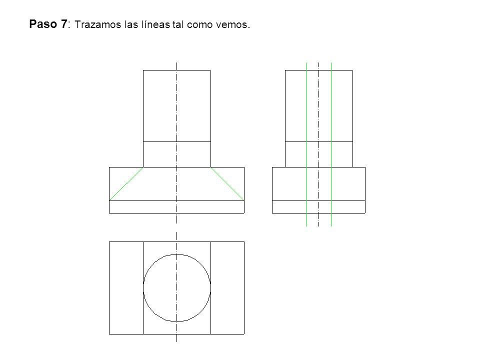 Paso 7: Trazamos las líneas tal como vemos.