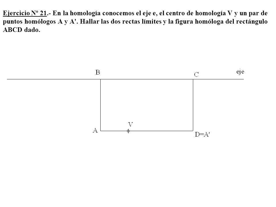 Ejercicio Nº 21.- En la homología conocemos el eje e, el centro de homología V y un par de puntos homólogos A y A .