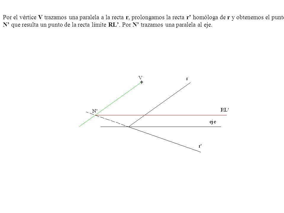 Por el vértice V trazamos una paralela a la recta r, prolongamos la recta r' homóloga de r y obtenemos el punto N' que resulta un punto de la recta límite RL'.