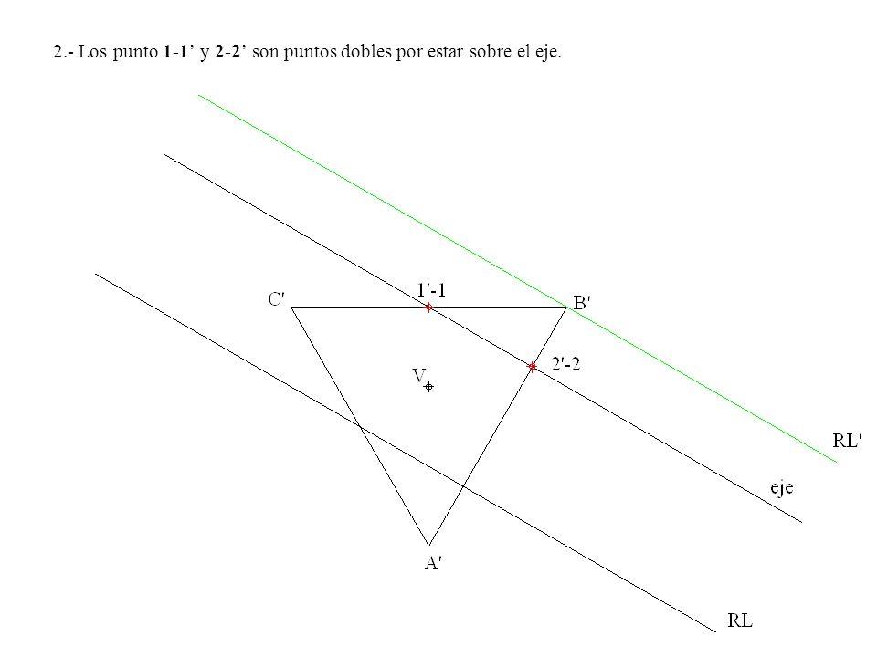 2.- Los punto 1-1' y 2-2' son puntos dobles por estar sobre el eje.