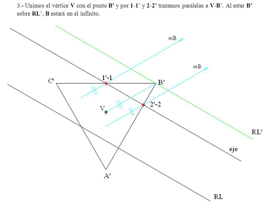 3.- Unimos el vértice V con el punto B' y por 1-1' y 2-2' trazamos paralelas a V-B'.