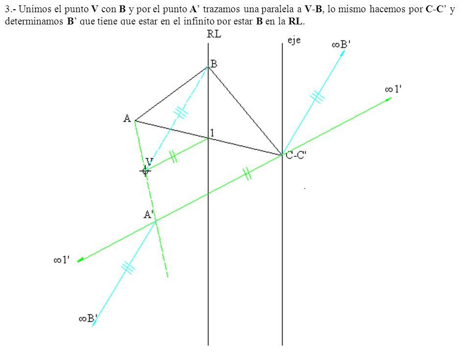3.- Unimos el punto V con B y por el punto A' trazamos una paralela a V-B, lo mismo hacemos por C-C' y determinamos B' que tiene que estar en el infinito por estar B en la RL.
