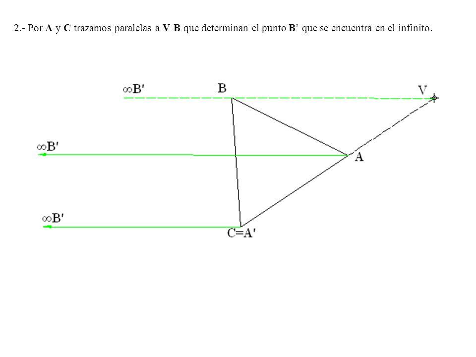 2.- Por A y C trazamos paralelas a V-B que determinan el punto B' que se encuentra en el infinito.