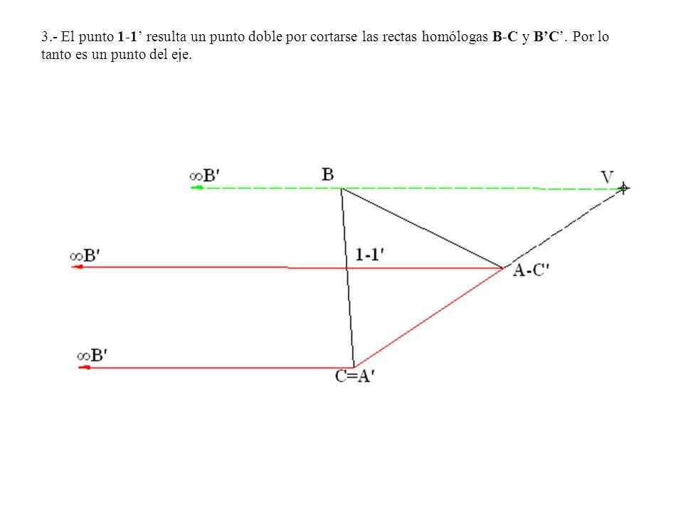 3.- El punto 1-1' resulta un punto doble por cortarse las rectas homólogas B-C y B'C'.