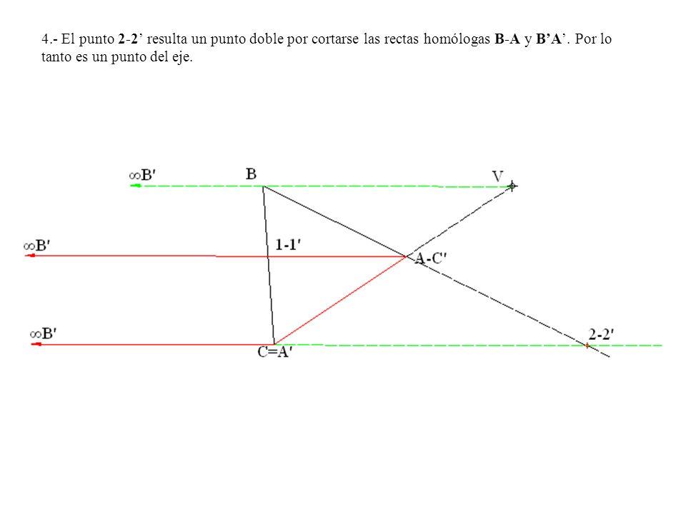 4.- El punto 2-2' resulta un punto doble por cortarse las rectas homólogas B-A y B'A'.