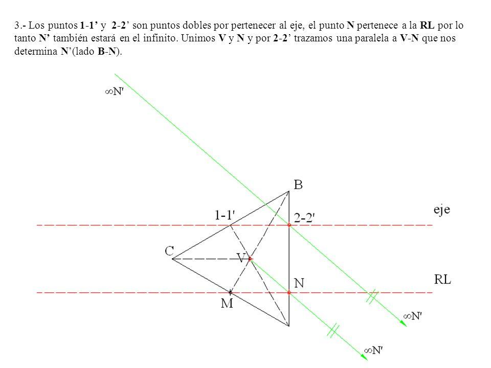 3.- Los puntos 1-1' y 2-2' son puntos dobles por pertenecer al eje, el punto N pertenece a la RL por lo tanto N' también estará en el infinito.