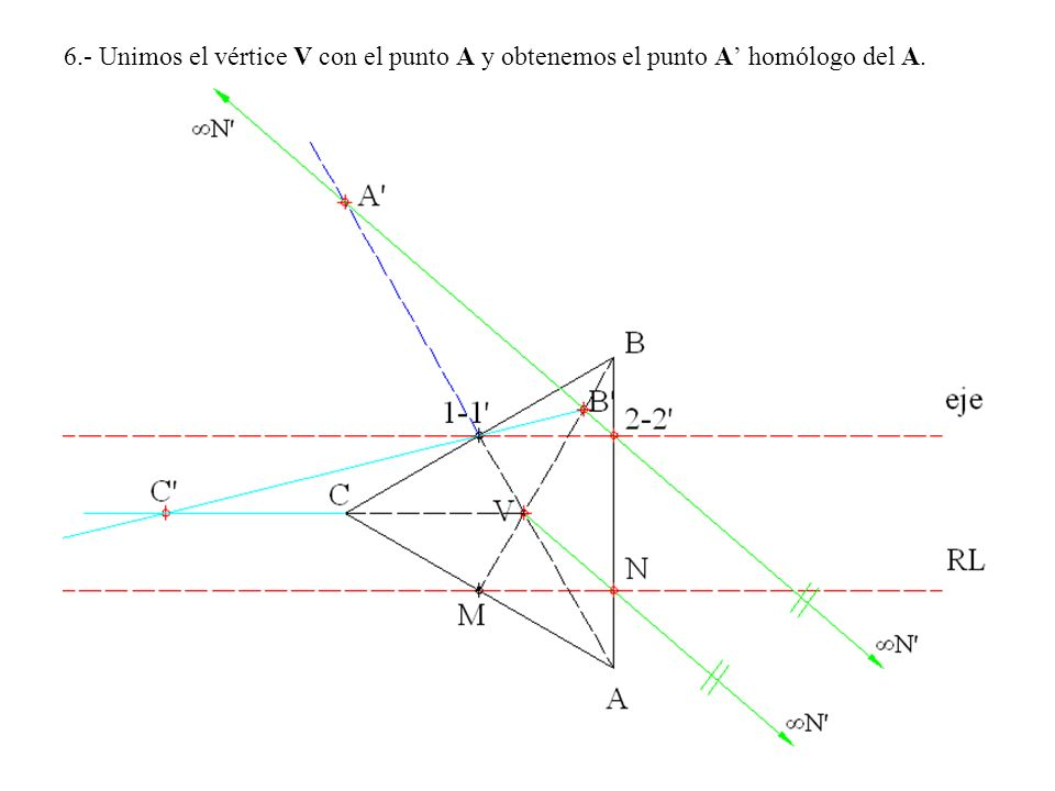 6.- Unimos el vértice V con el punto A y obtenemos el punto A' homólogo del A.