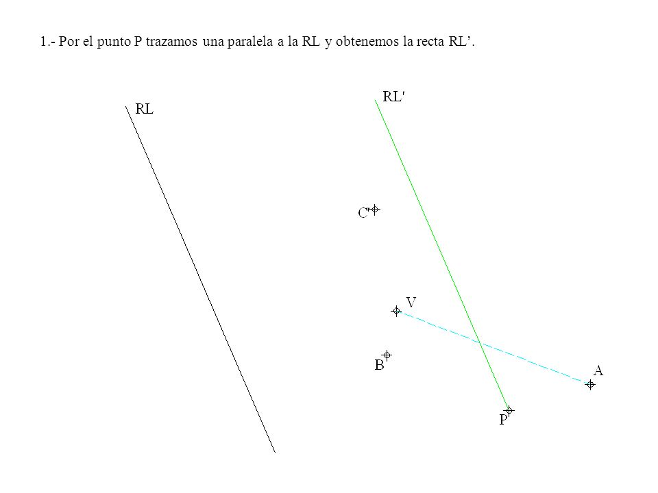 1.- Por el punto P trazamos una paralela a la RL y obtenemos la recta RL'.