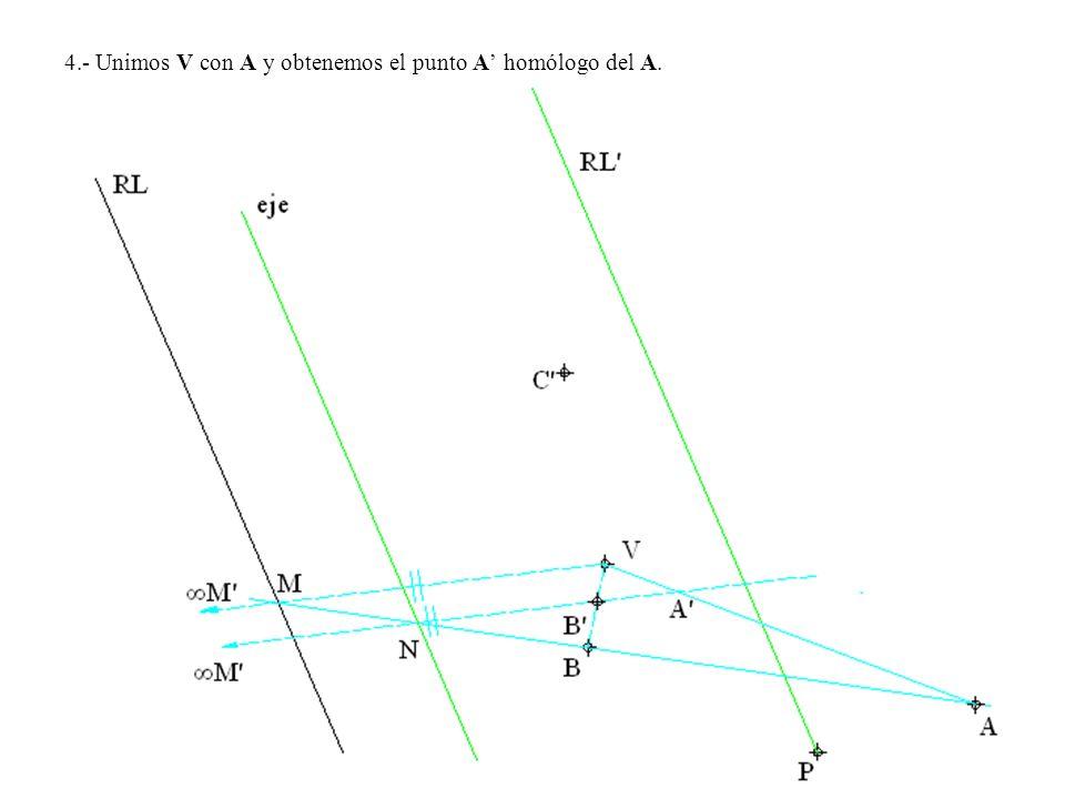 4.- Unimos V con A y obtenemos el punto A' homólogo del A.