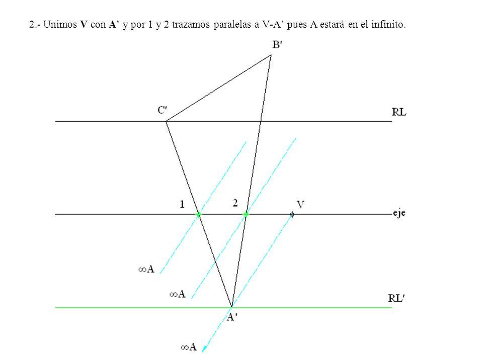 2.- Unimos V con A' y por 1 y 2 trazamos paralelas a V-A' pues A estará en el infinito.