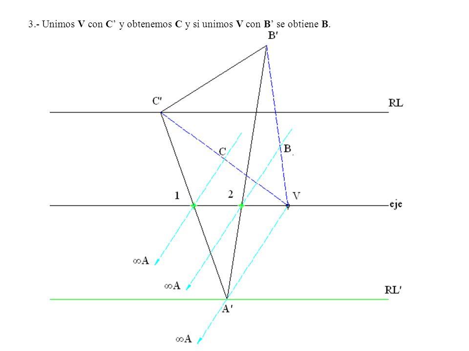 3.- Unimos V con C' y obtenemos C y si unimos V con B' se obtiene B.