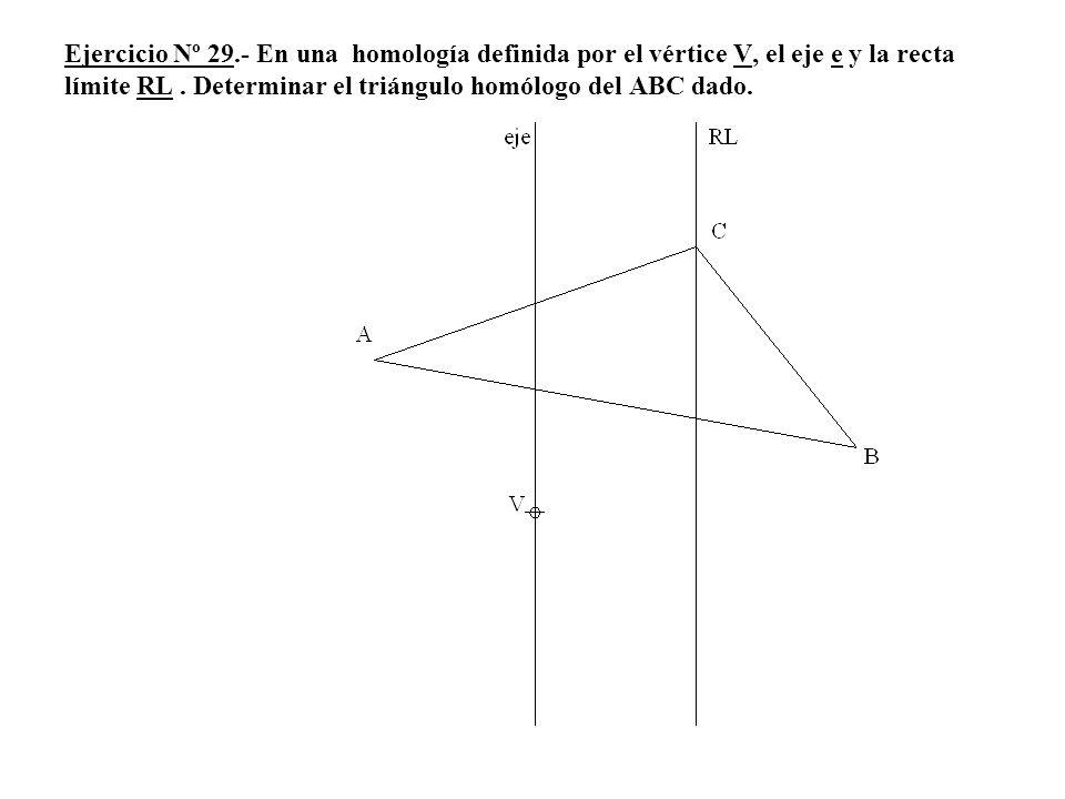Ejercicio Nº 29.- En una homología definida por el vértice V, el eje e y la recta límite RL .