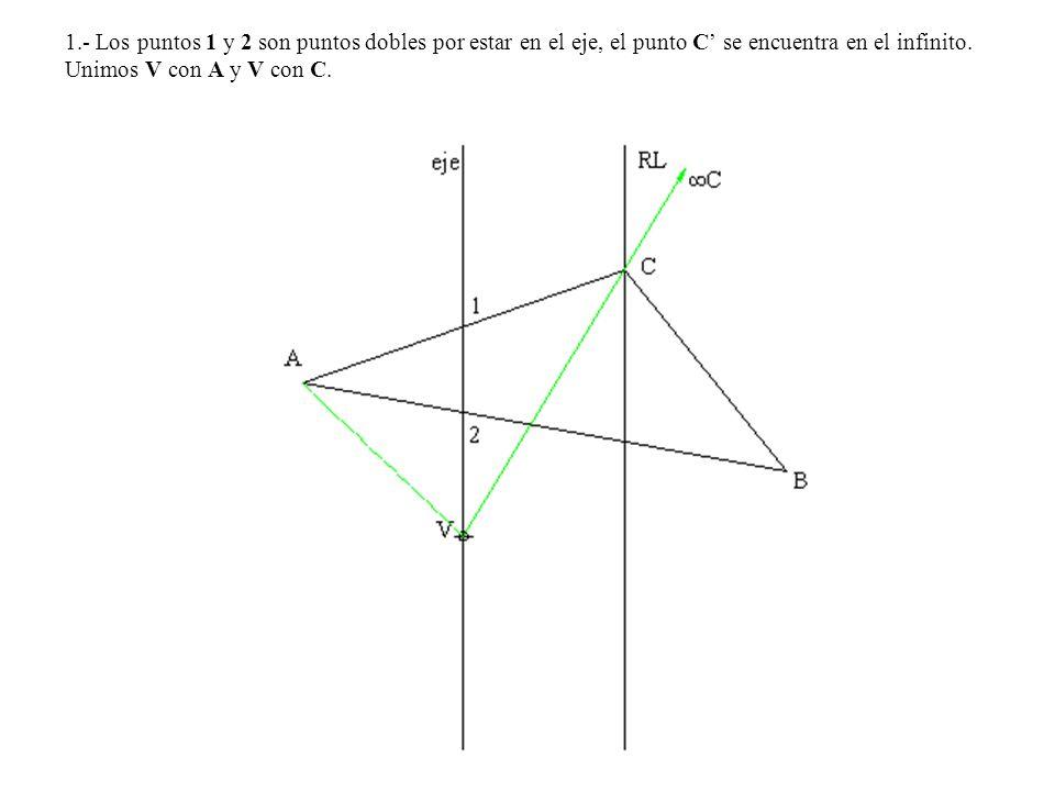 1.- Los puntos 1 y 2 son puntos dobles por estar en el eje, el punto C' se encuentra en el infinito.