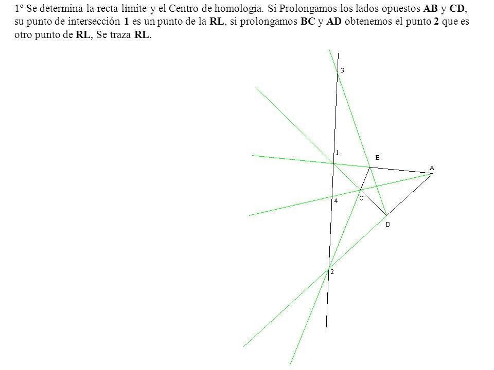 1º Se determina la recta límite y el Centro de homología
