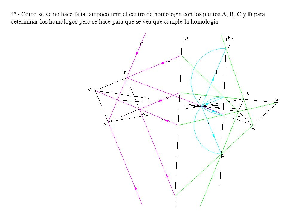4º.- Como se ve no hace falta tampoco unir el centro de homología con los puntos A, B, C y D para determinar los homólogos pero se hace para que se vea que cumple la homología