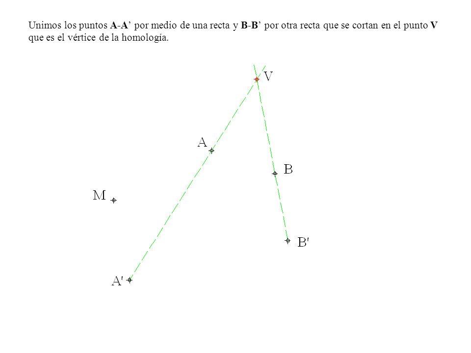 Unimos los puntos A-A' por medio de una recta y B-B' por otra recta que se cortan en el punto V que es el vértice de la homología.