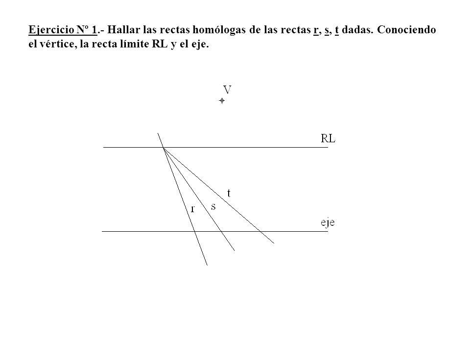 Ejercicio Nº 1.- Hallar las rectas homólogas de las rectas r, s, t dadas.