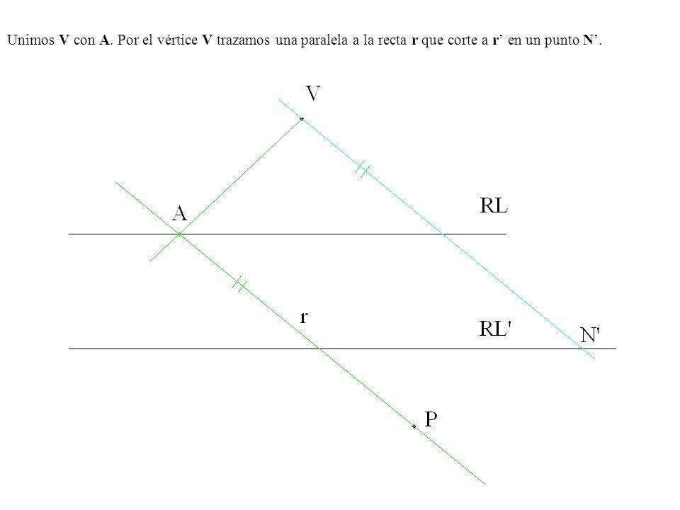 Unimos V con A. Por el vértice V trazamos una paralela a la recta r que corte a r' en un punto N'.