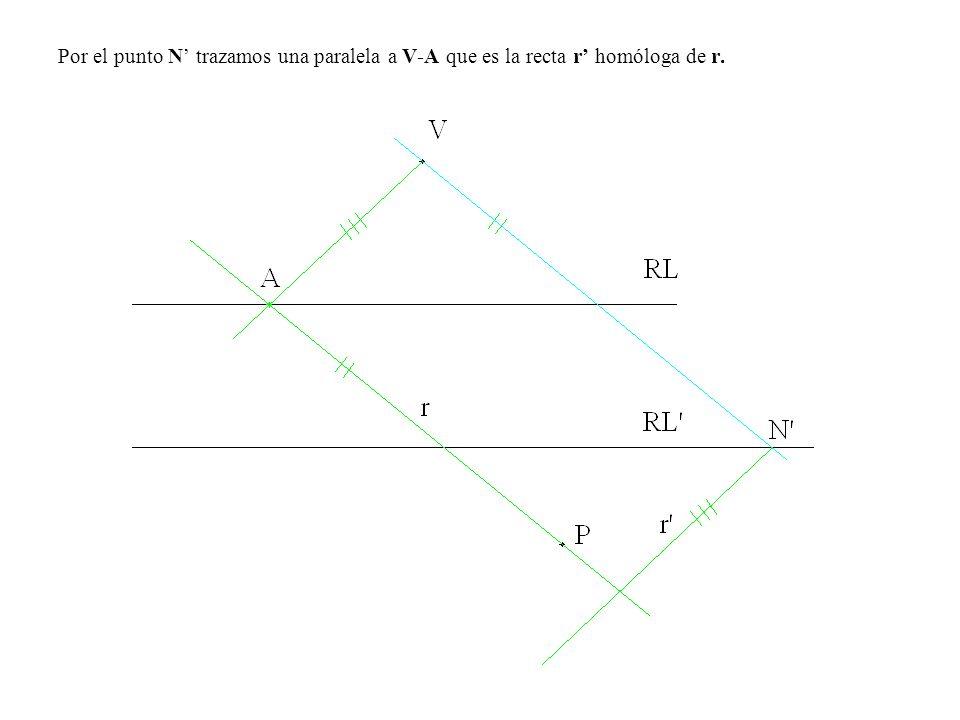 Por el punto N' trazamos una paralela a V-A que es la recta r' homóloga de r.