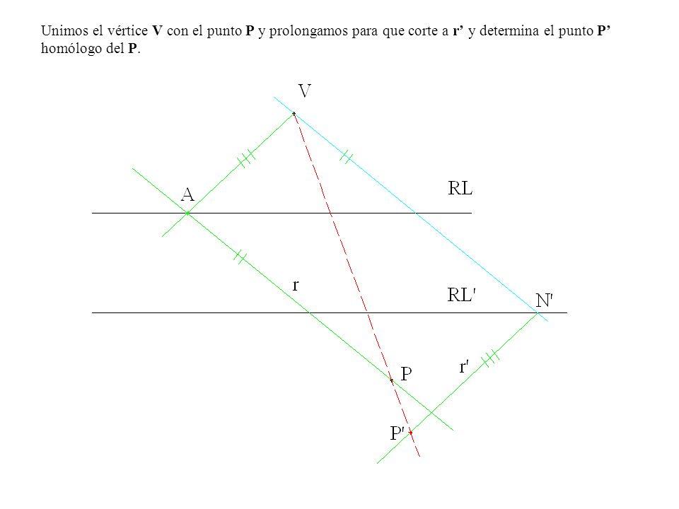 Unimos el vértice V con el punto P y prolongamos para que corte a r' y determina el punto P' homólogo del P.