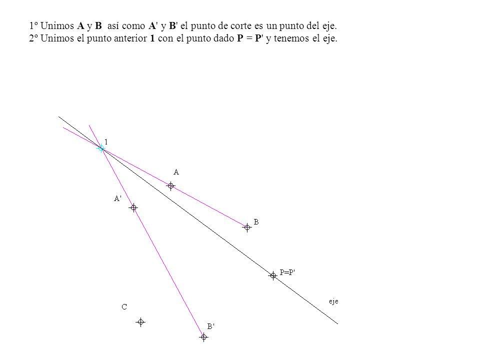 1º Unimos A y B así como A y B el punto de corte es un punto del eje