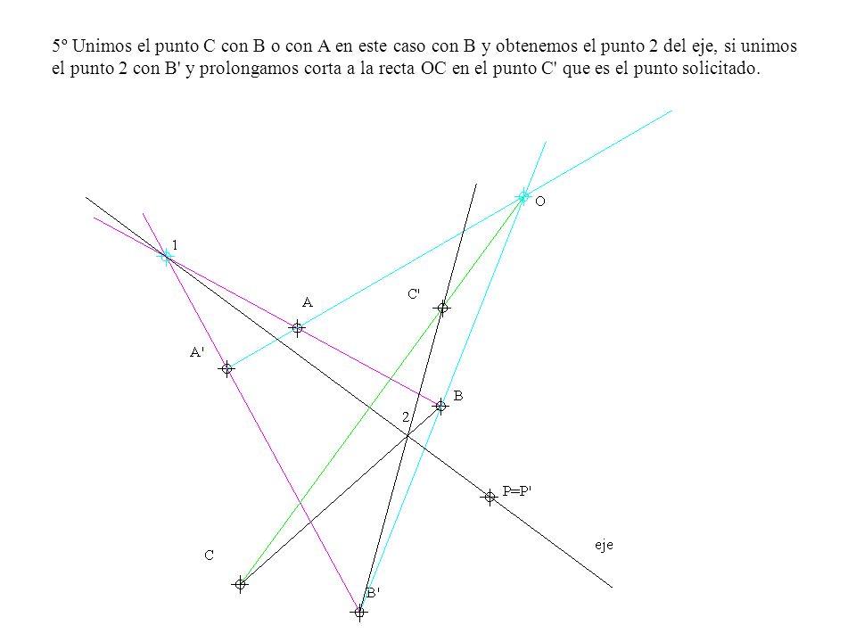 5º Unimos el punto C con B o con A en este caso con B y obtenemos el punto 2 del eje, si unimos el punto 2 con B y prolongamos corta a la recta OC en el punto C que es el punto solicitado.