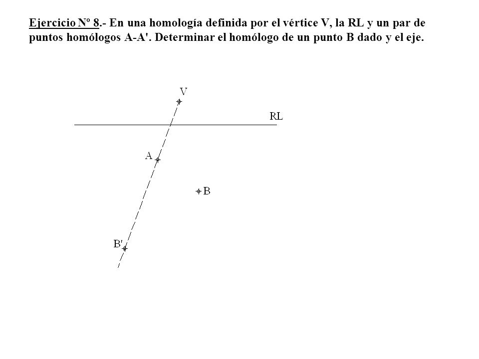 Ejercicio Nº 8.- En una homología definida por el vértice V, la RL y un par de puntos homólogos A-A .