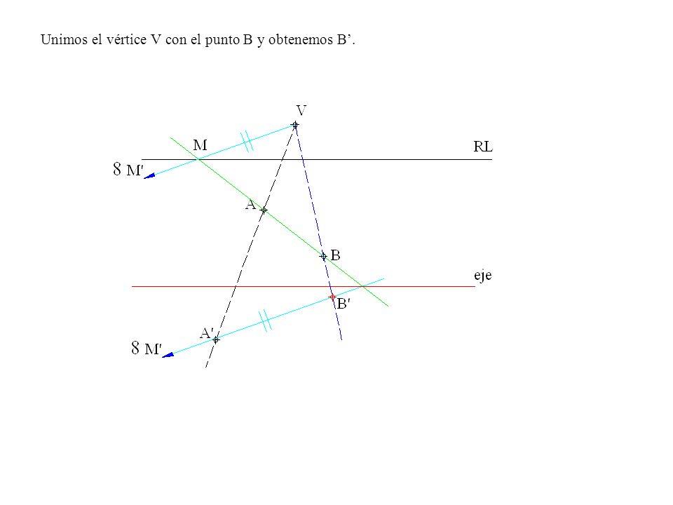 Unimos el vértice V con el punto B y obtenemos B'.