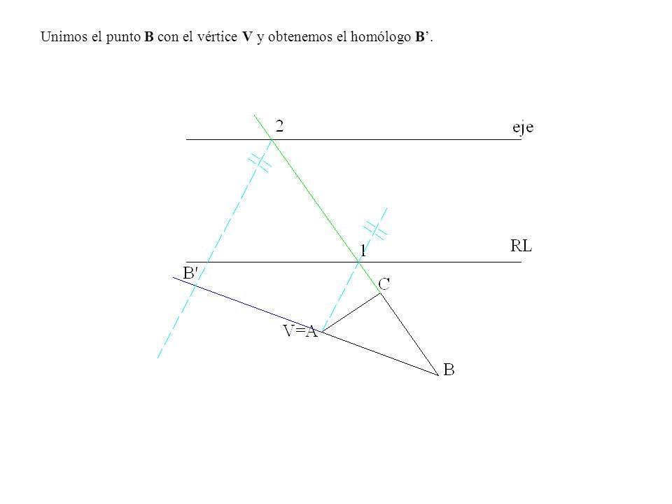 Unimos el punto B con el vértice V y obtenemos el homólogo B'.