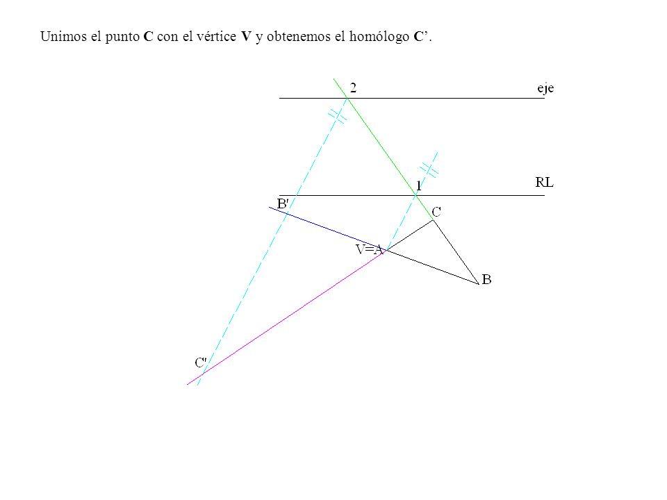 Unimos el punto C con el vértice V y obtenemos el homólogo C'.