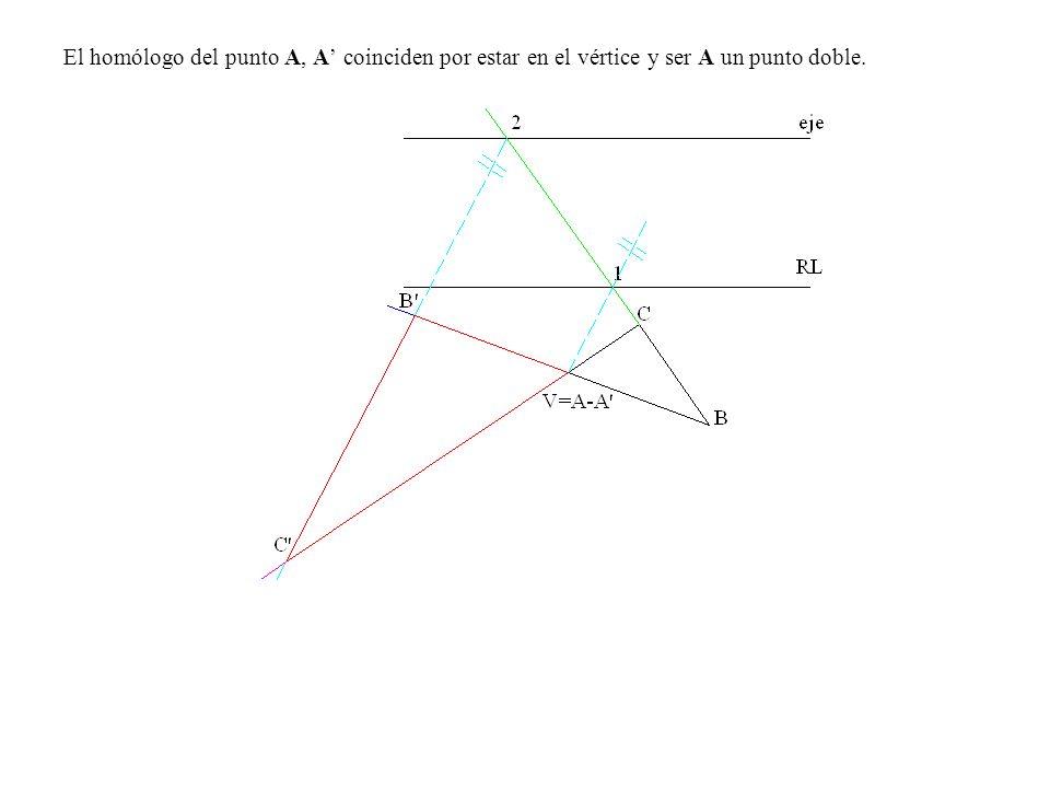 El homólogo del punto A, A' coinciden por estar en el vértice y ser A un punto doble.